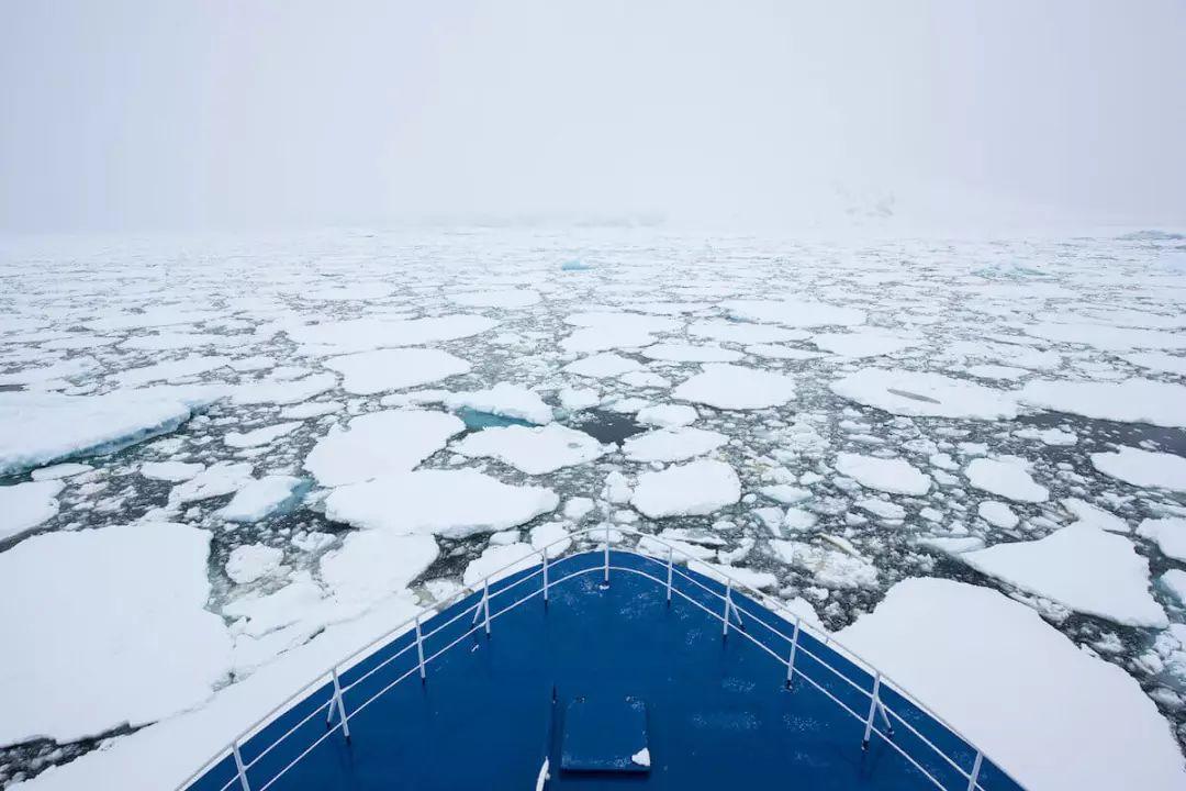 在碎冰间穿行的南极游轮