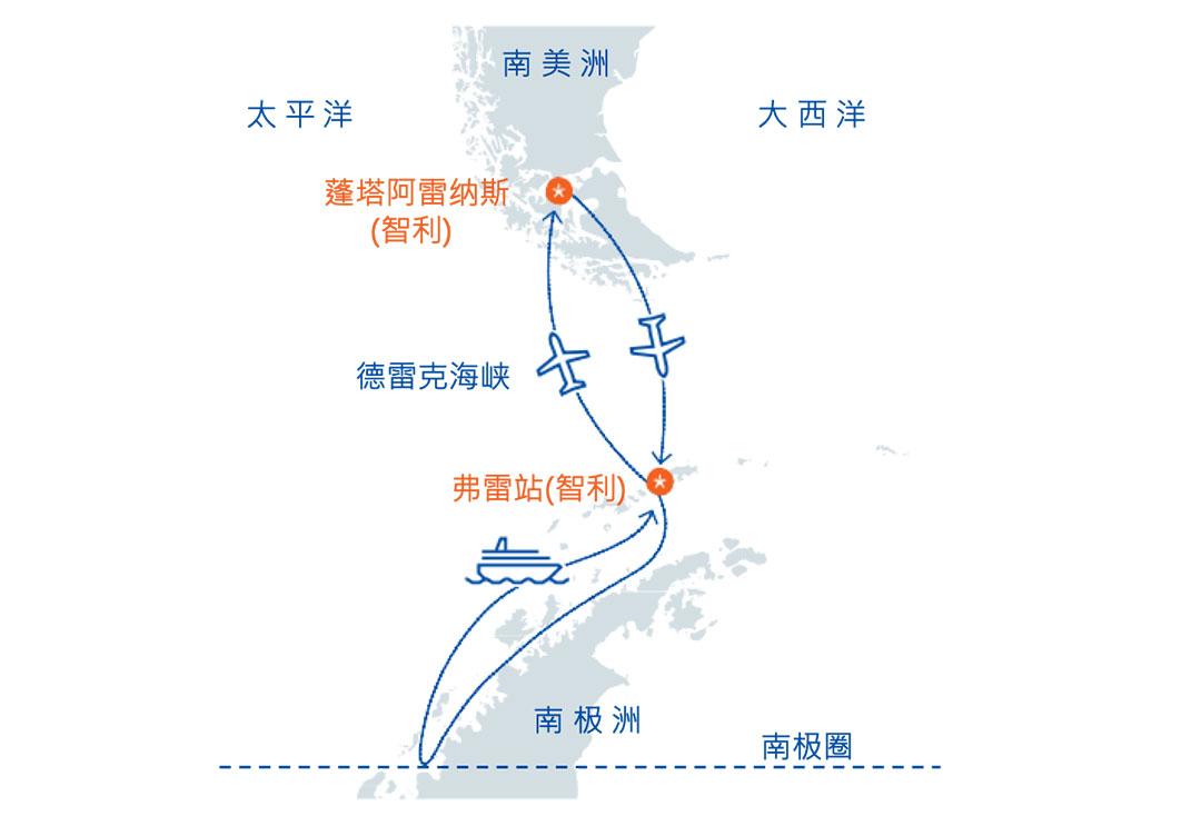 南极十日游地图