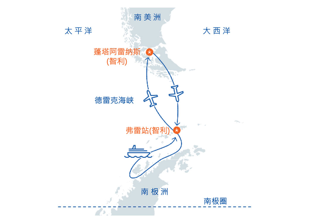 南极旅游路线地图