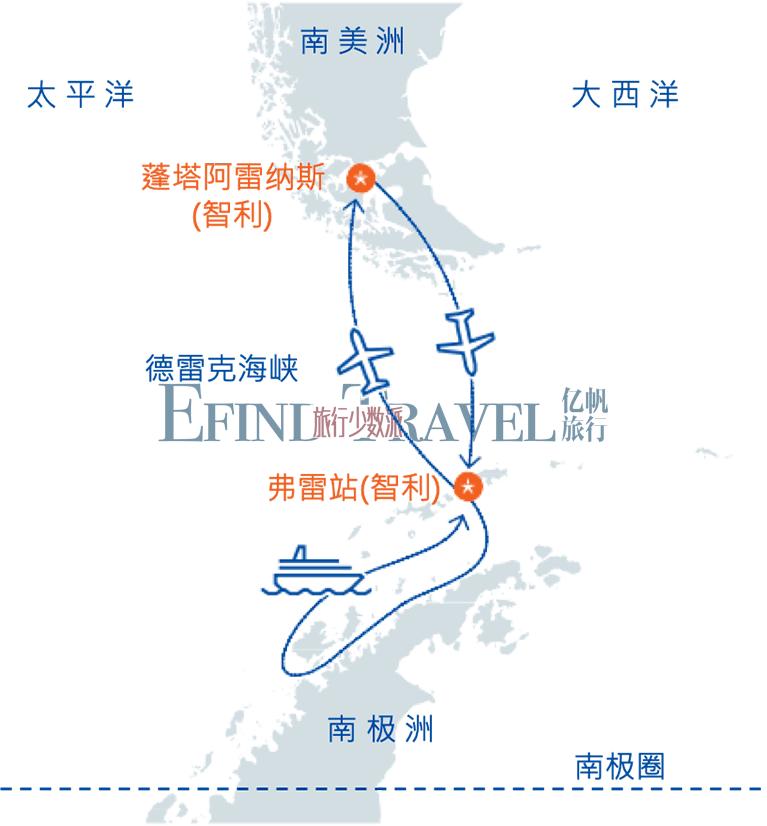 直飞南极半岛旅行地图