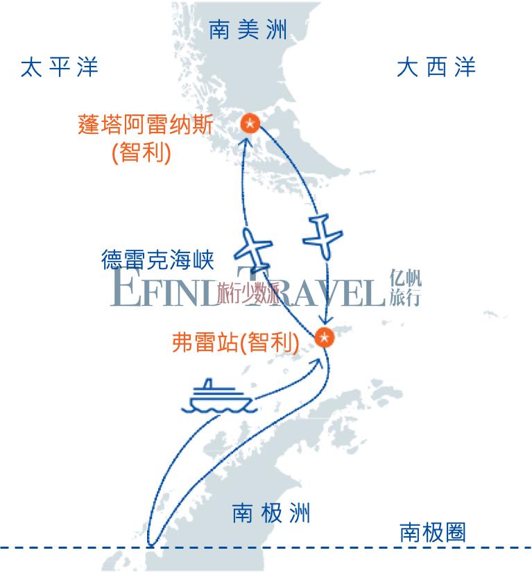 跨南极圈南极旅行地图