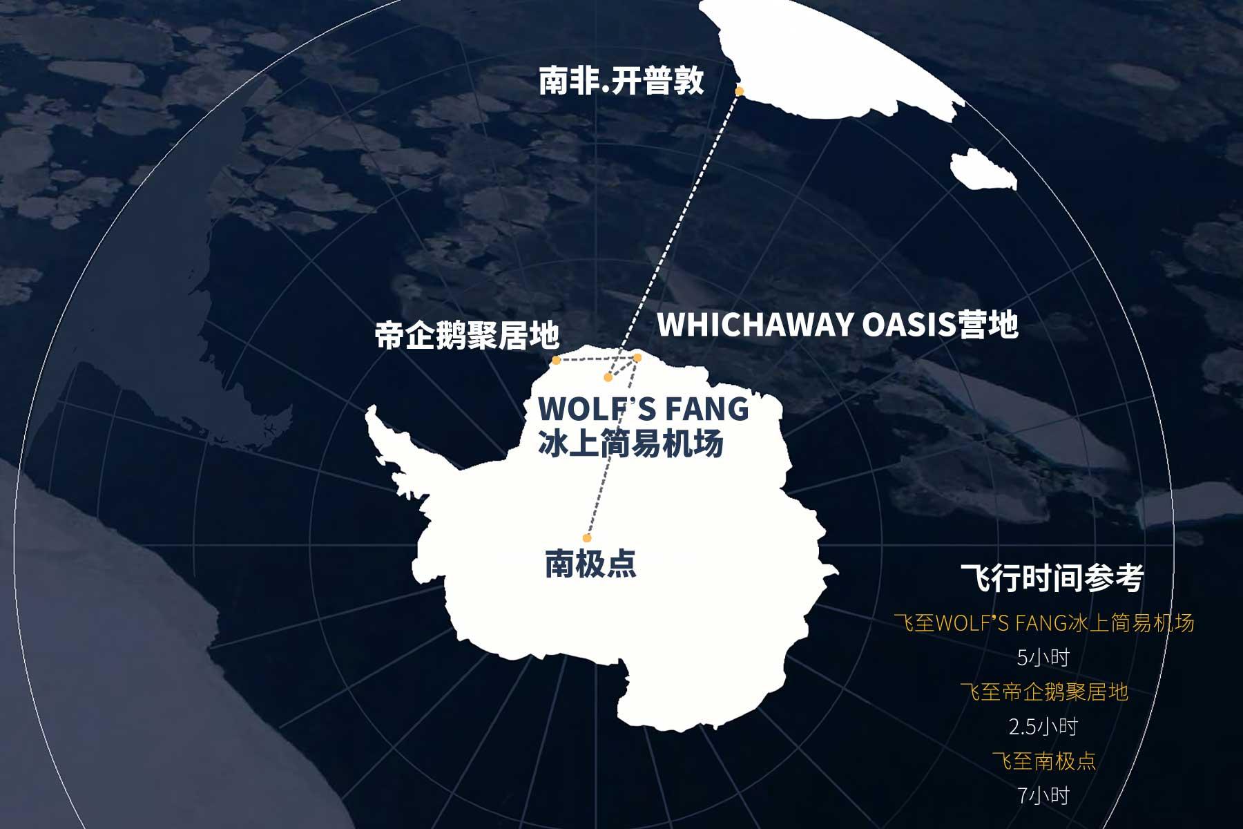 南极点旅行路线示意图