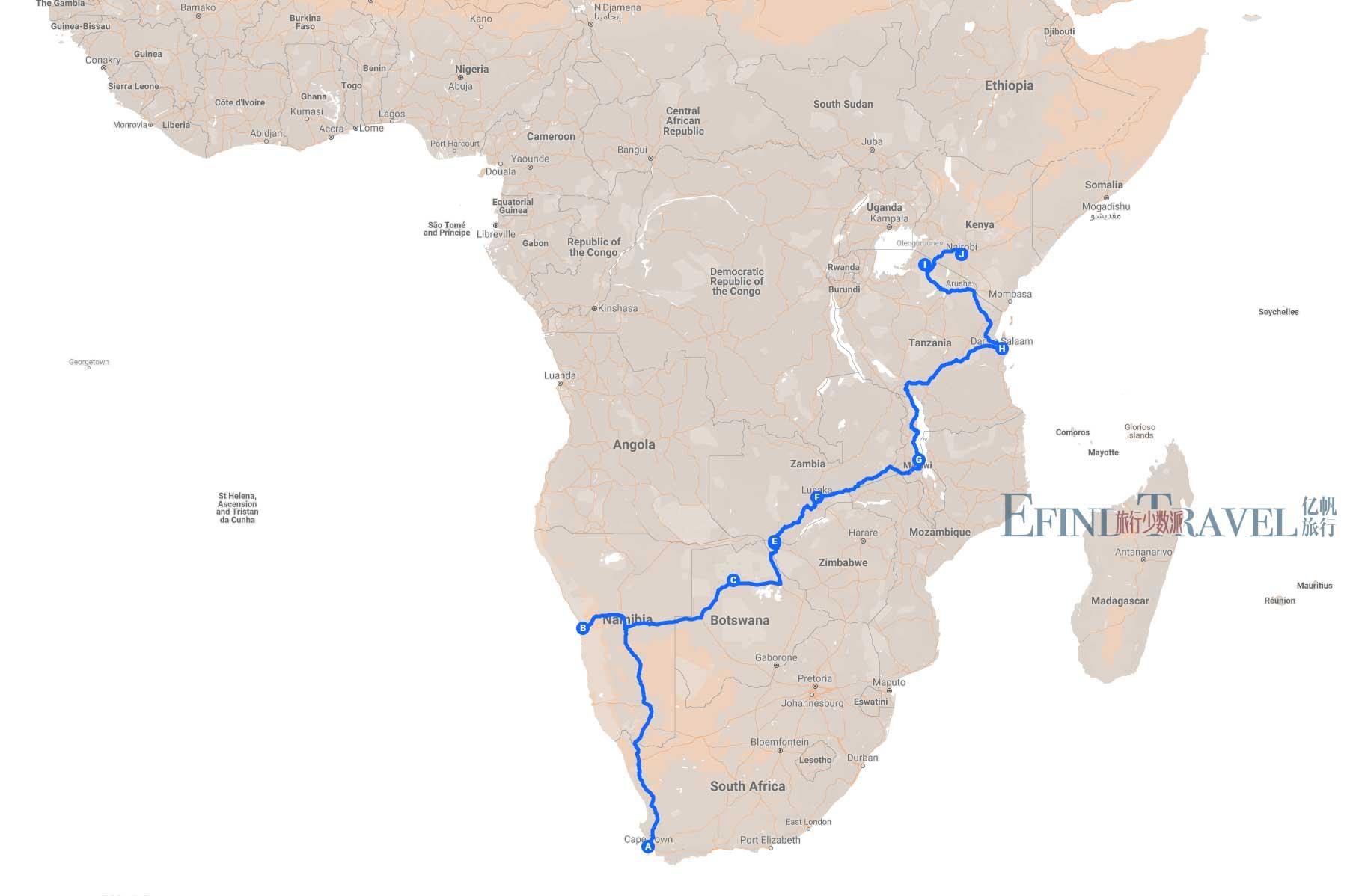 穿越非洲旅游地图