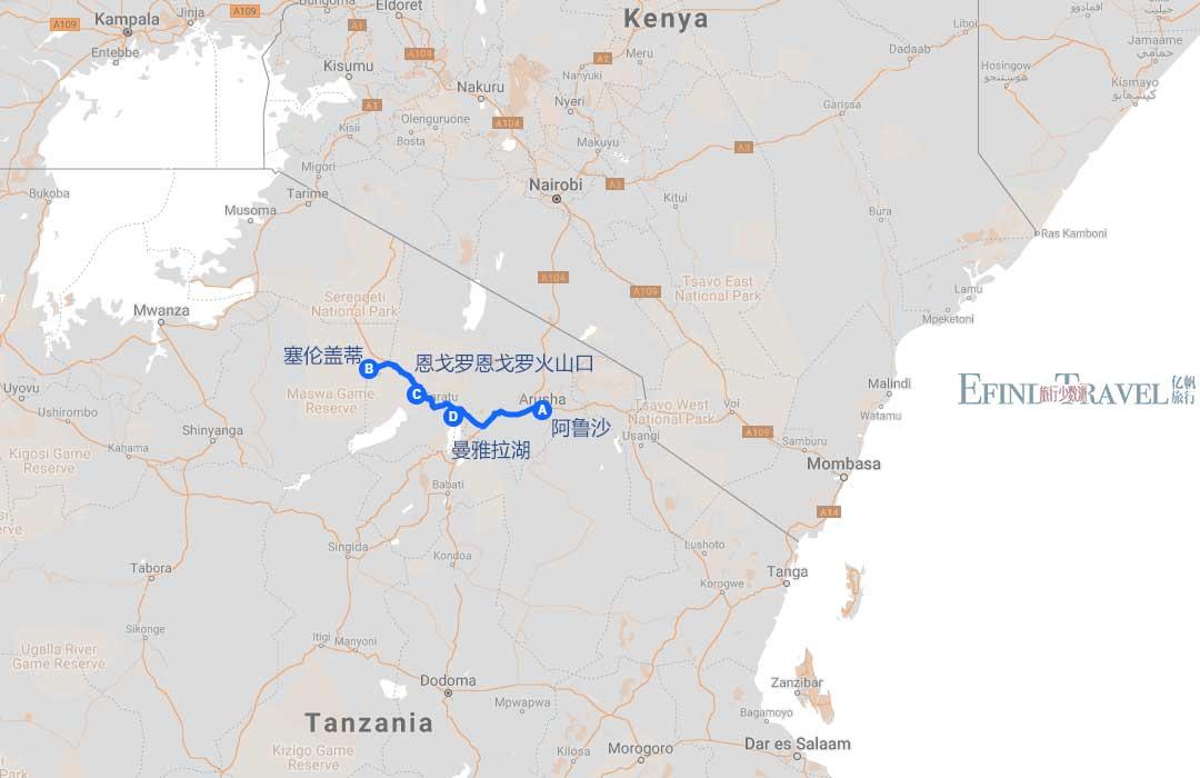 坦桑尼亚旅游地图